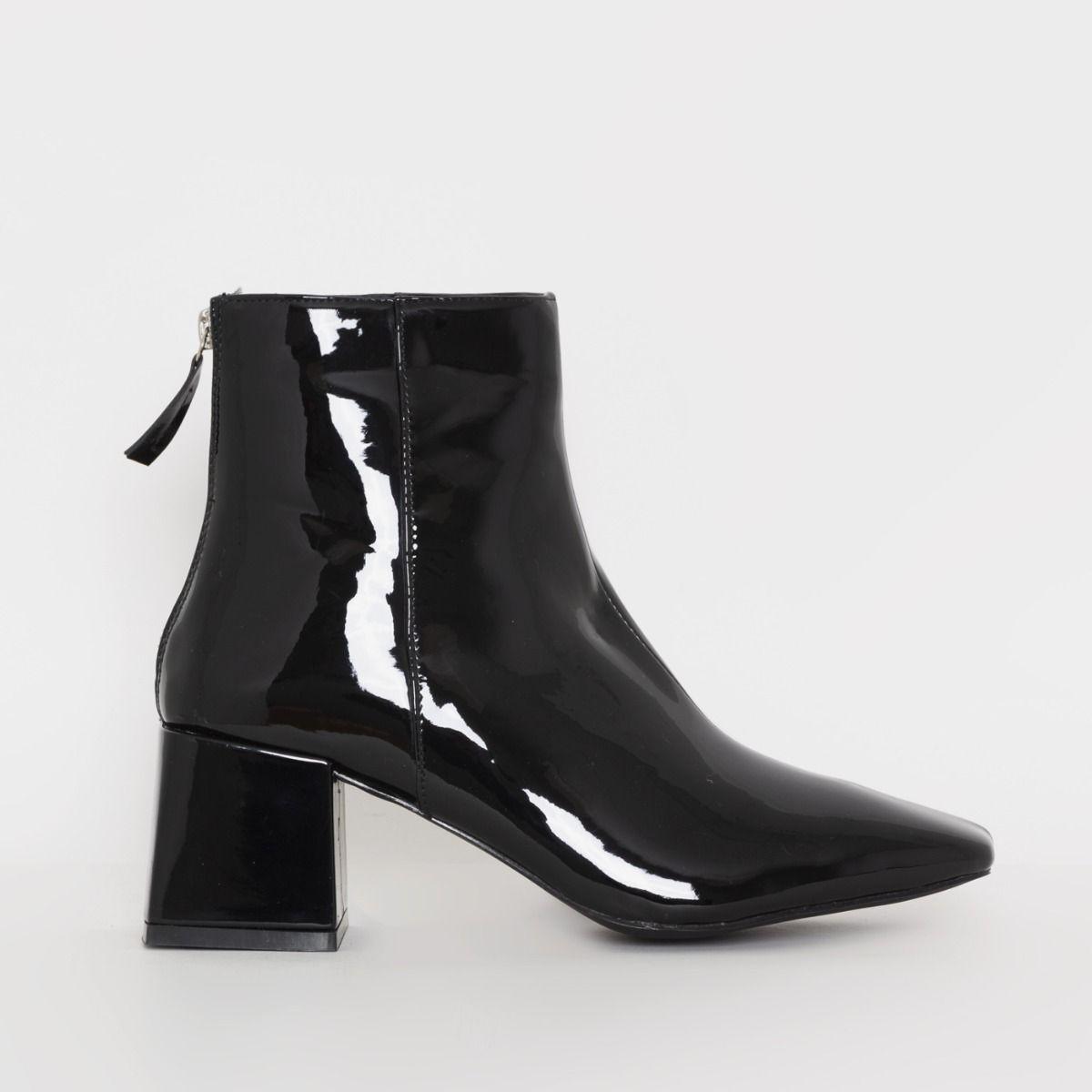 Fabel Black Patent Block Heel Ankle Boots
