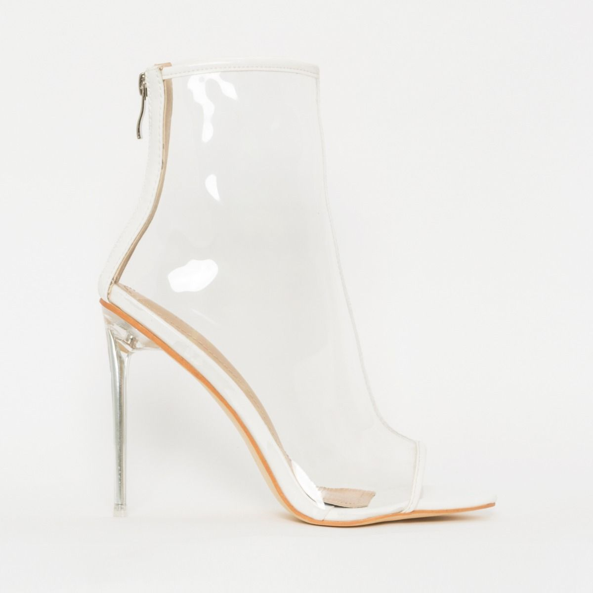 Grace White Patent Clear Peep Toe Ankle