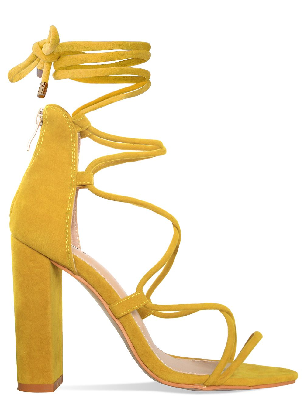 Hannah Mustard Suede Lace Up Block Heels