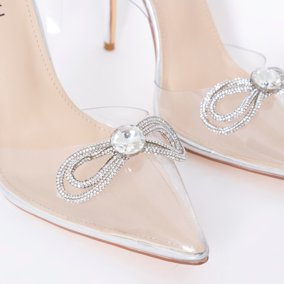 Pink Clear Diamante Sling Back High Heels   PrettyLittleThing