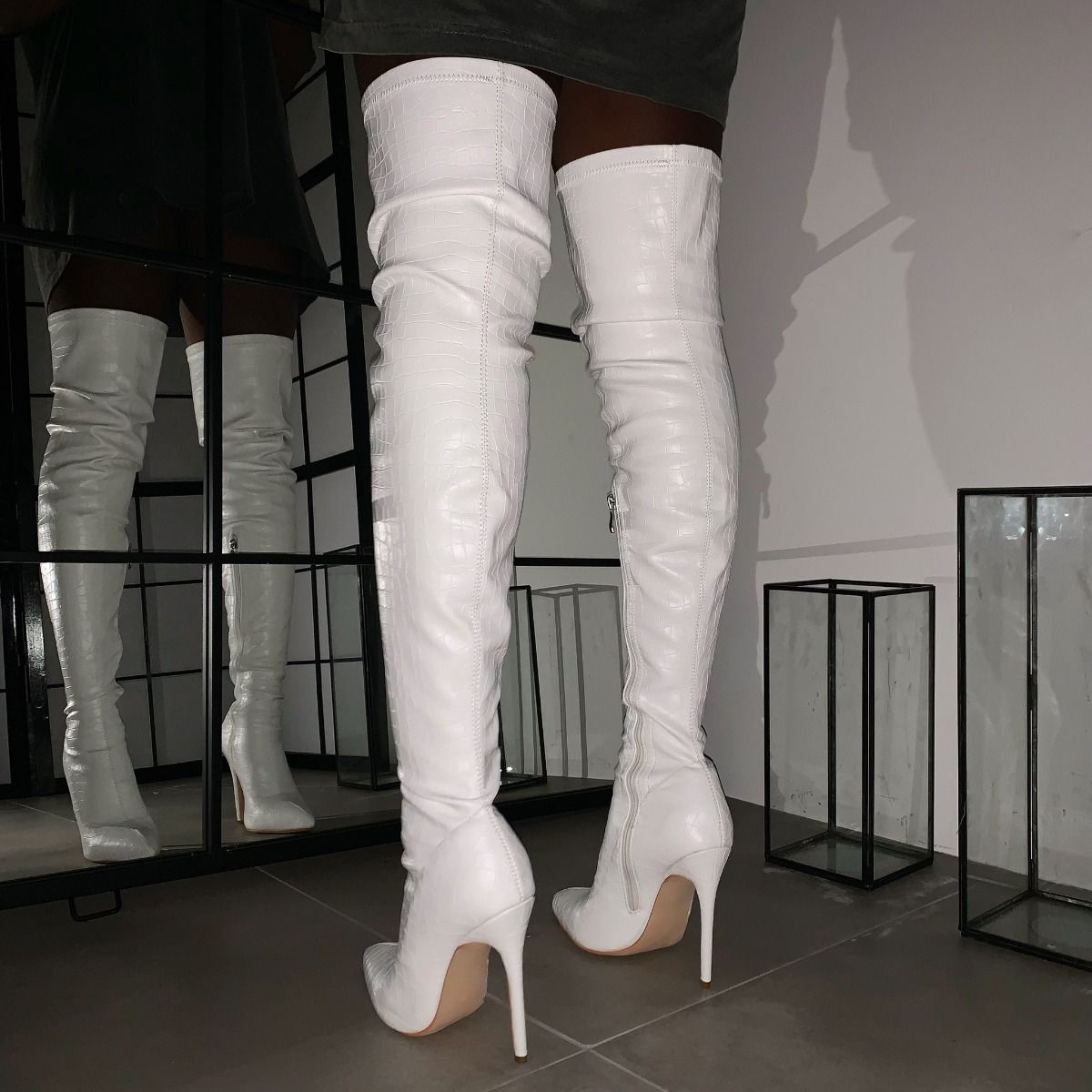 thigh high off white stiletto boots