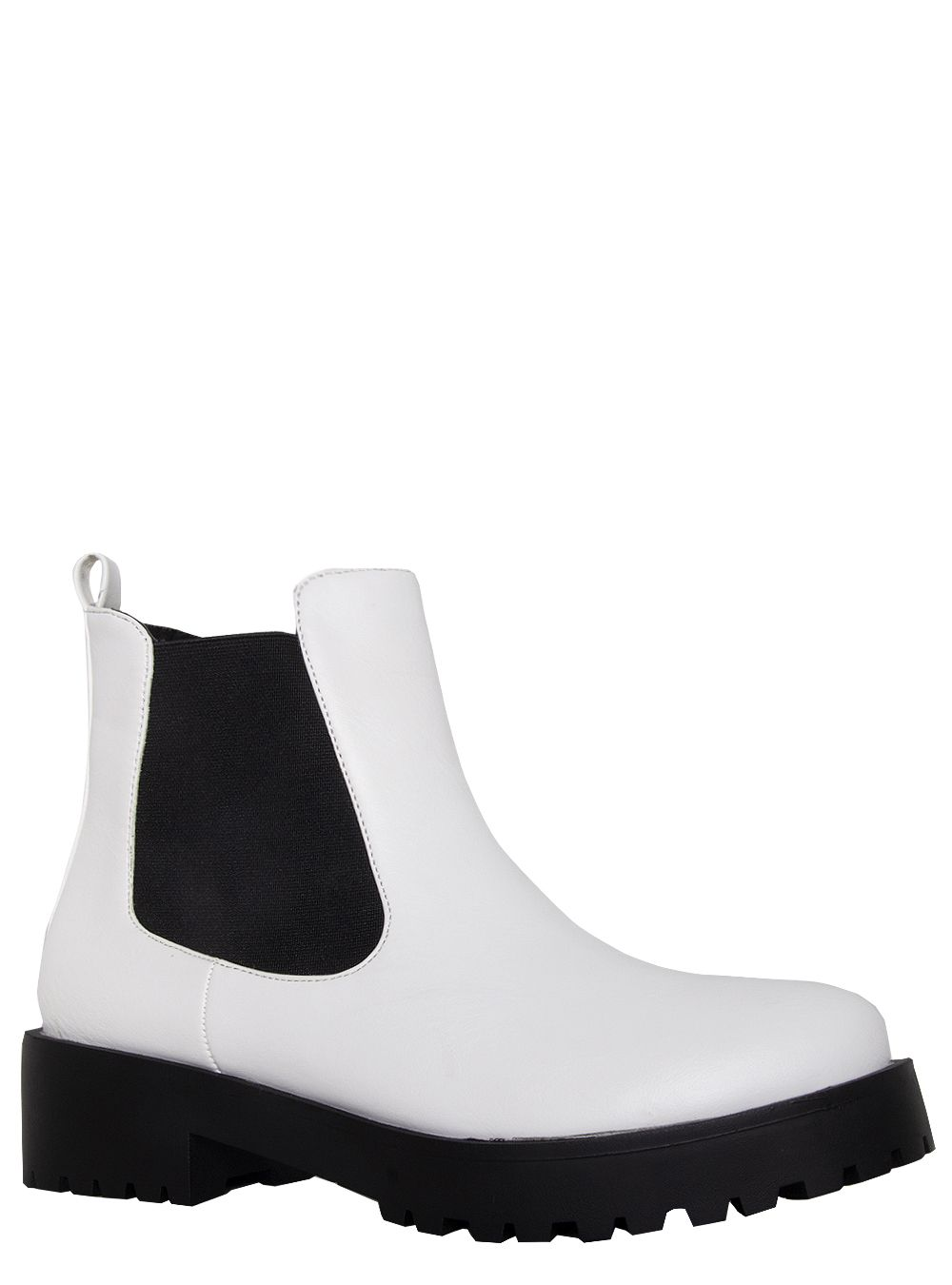 Toni White Cleated Flat Ankle Boots