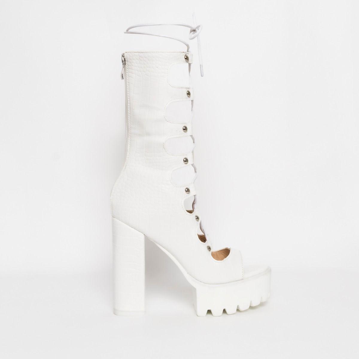 white platform zip back shoes