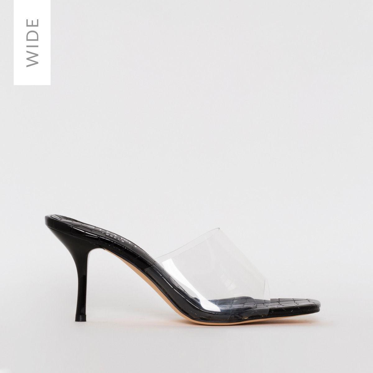 Elise Wide Fit Black Snake Print Clear