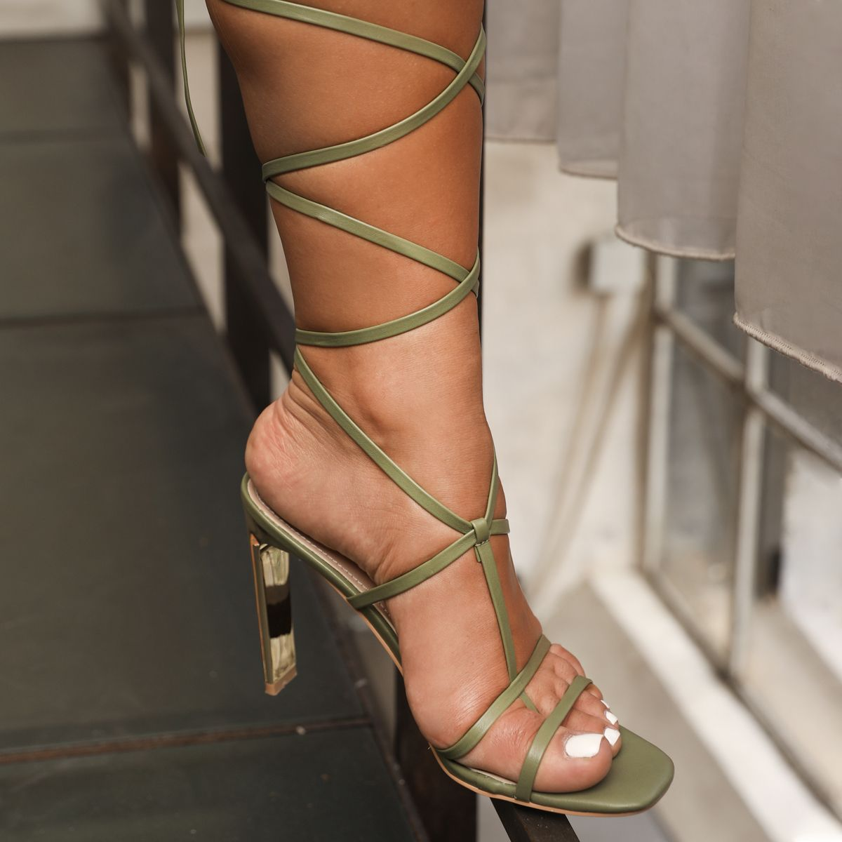 Lalia Olive Green Lace up Strappy Slim