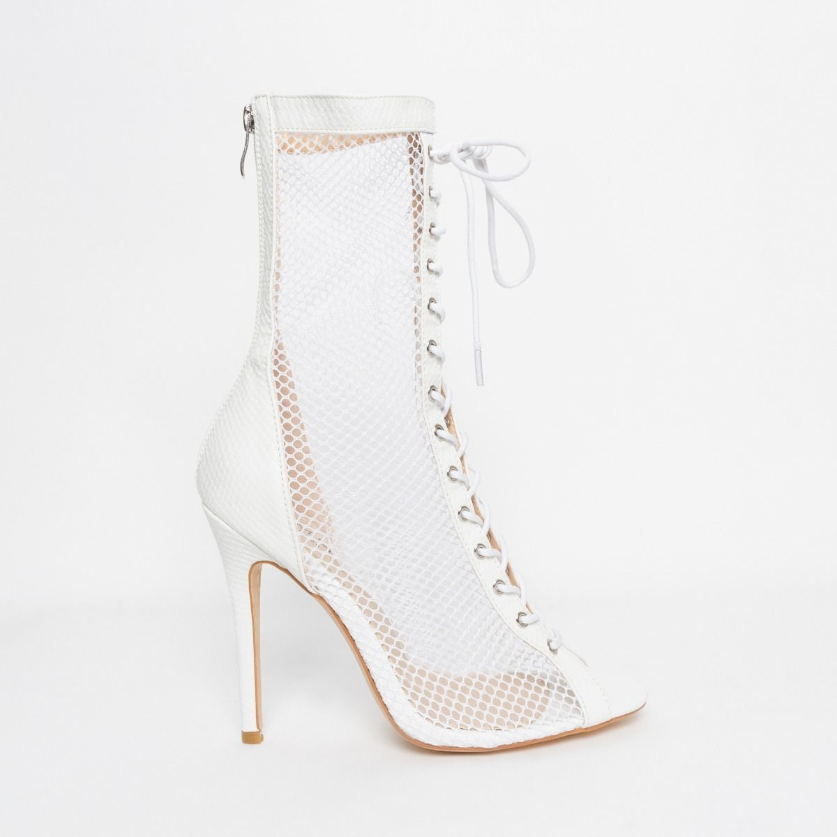 Lira White Snake Mesh Lace Up Ankle Boots