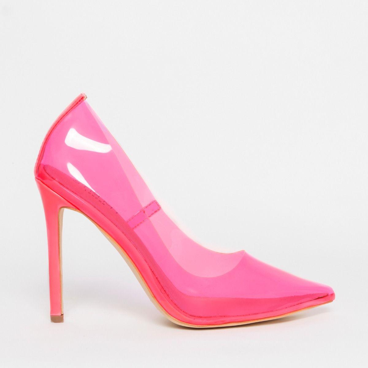 Nova Neon Pink Clear Stiletto Court Shoes