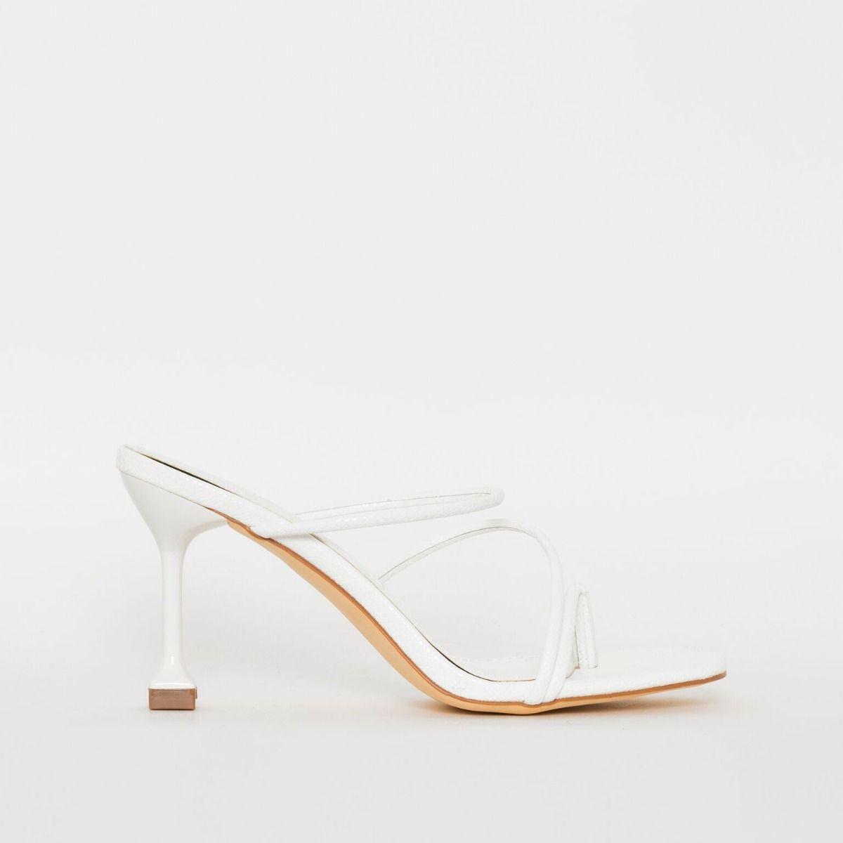 Jada White Snake Print Strappy Mid Heels