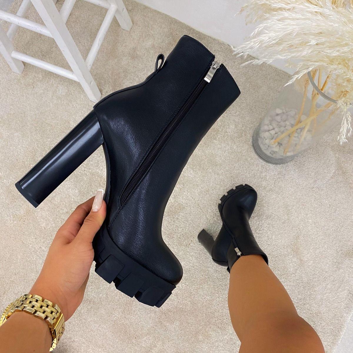Roxi Black Platform Block Heel Ankle Boots
