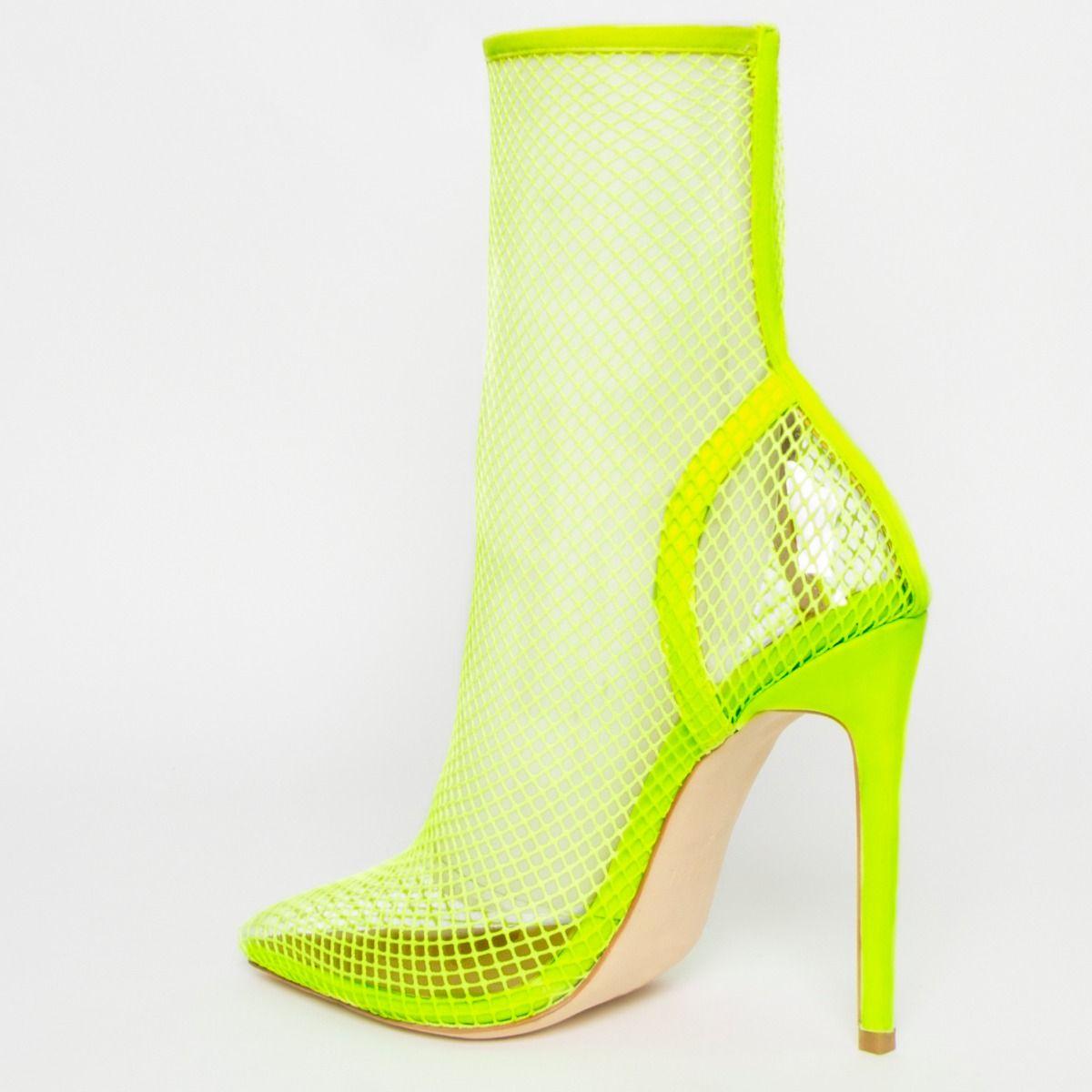 Kalia Neon Yellow Clear Fishnet Heels