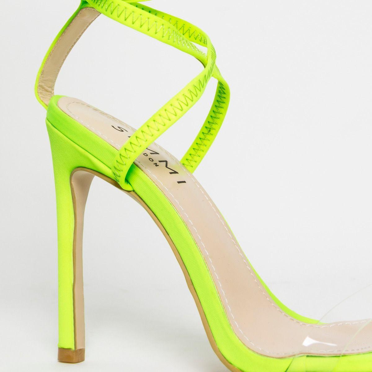 Zana Wide Fit Neon Yellow Lycra Lace Up