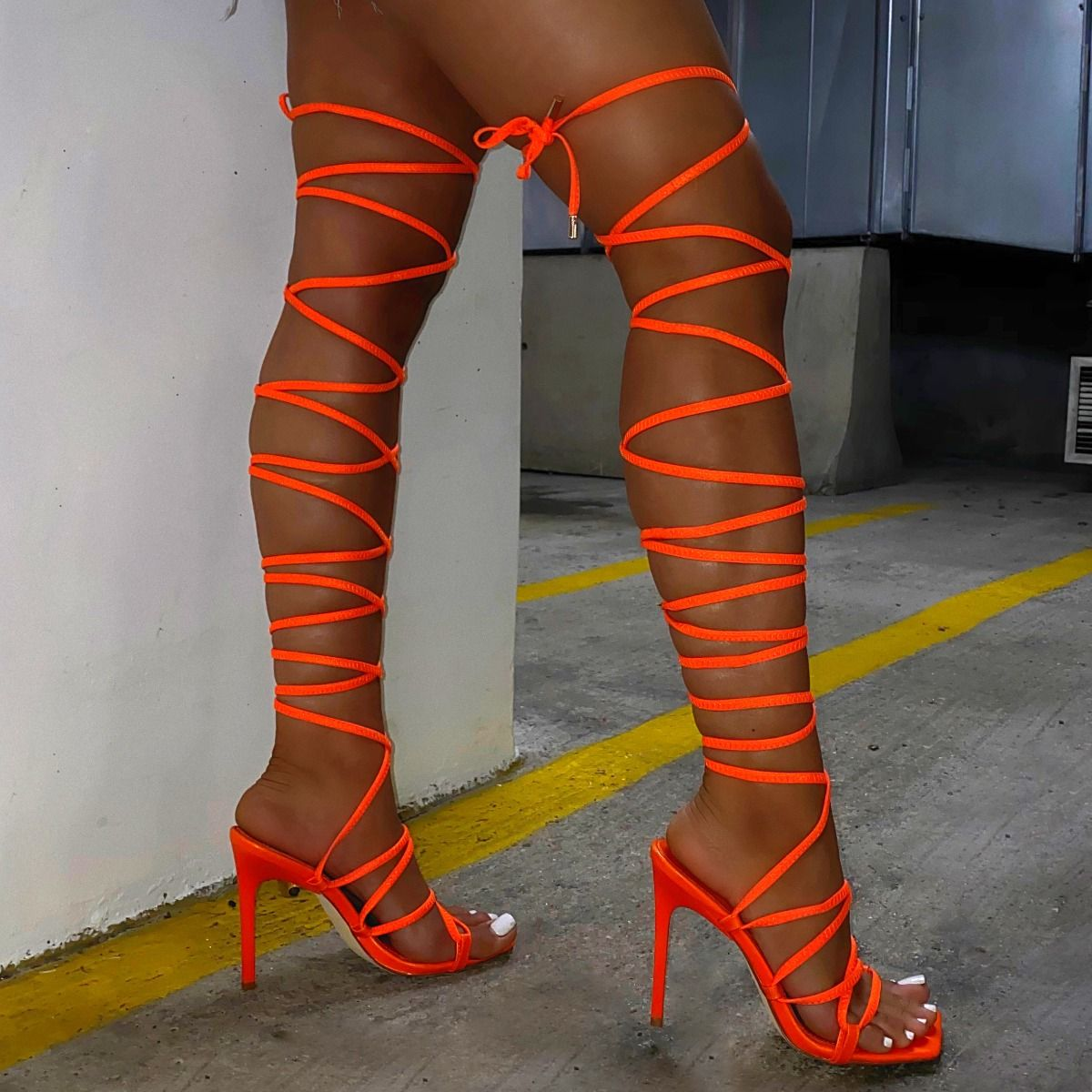 Clermont Twins Sis Neon Orange Lace Up