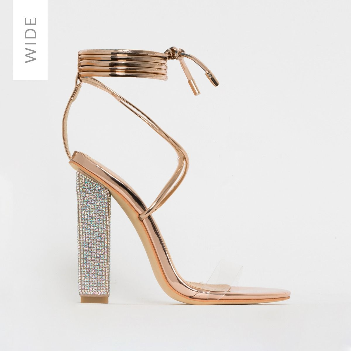 Karla Wide Fit Rose Gold Clear Lace Up