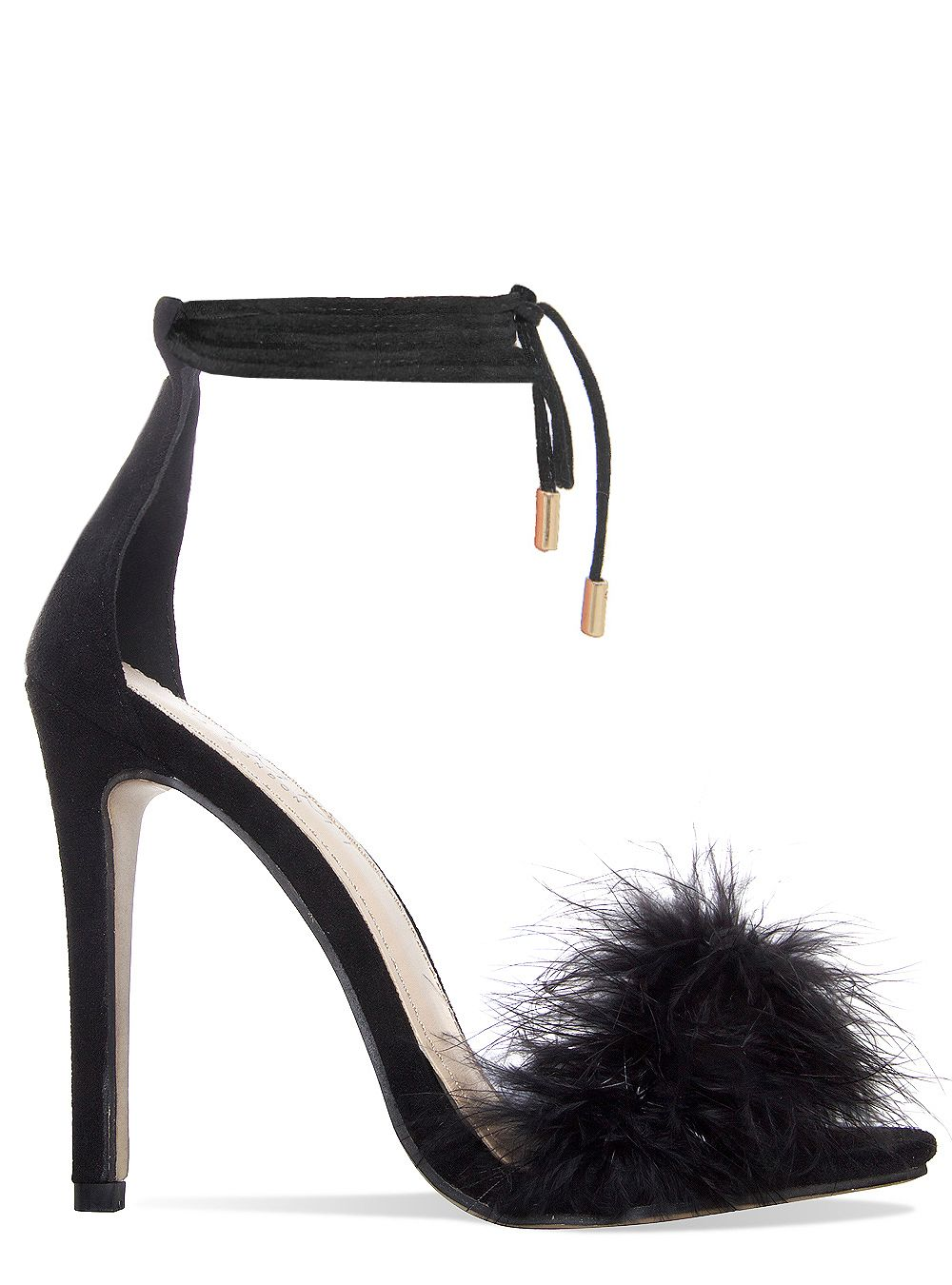 Tamaya Black Suede Fluffy Lace Up Heels