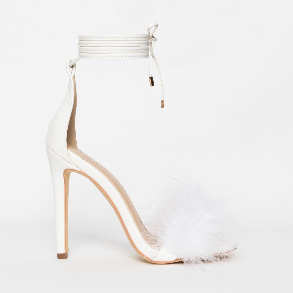 Tamaya White Fluffy Lace Up Heels