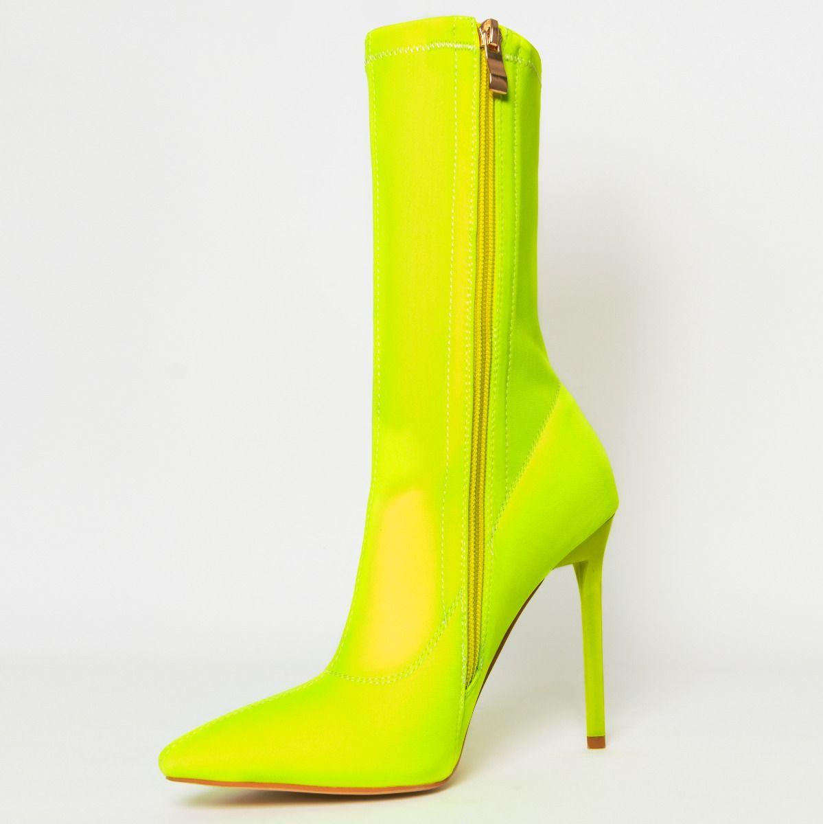 Lucinda Neon Yellow Lycra Stiletto