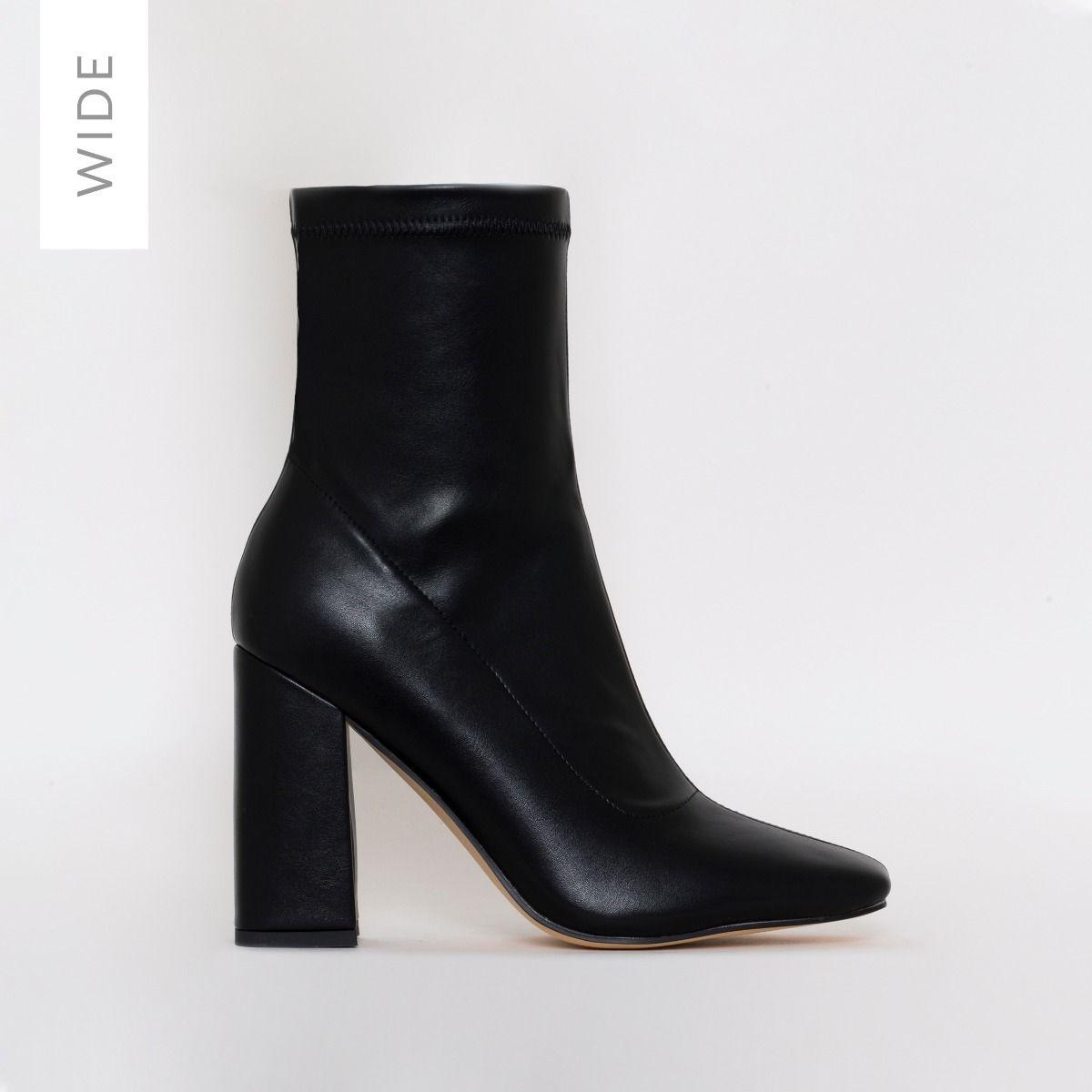 Isla Wide Fit Black Block Heel Ankle Boots
