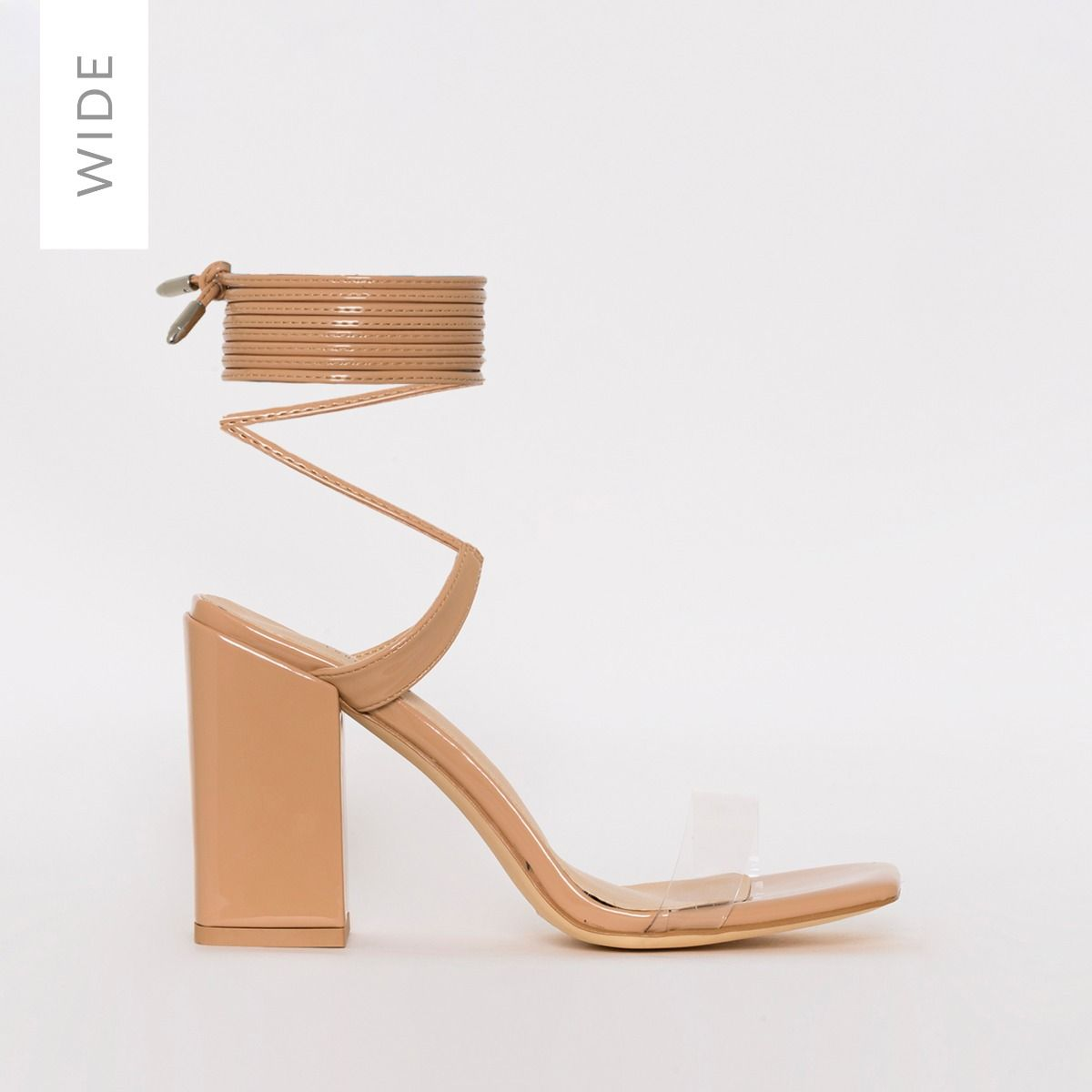 Ruby Wide Fit Nude Patent Clear Lace Up