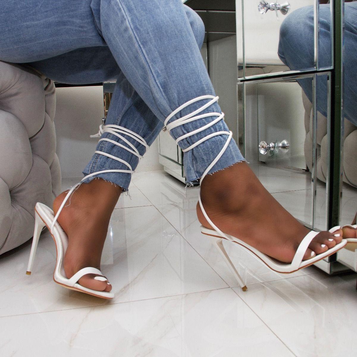 Whitney Red Patent Tie Up Stiletto Heels