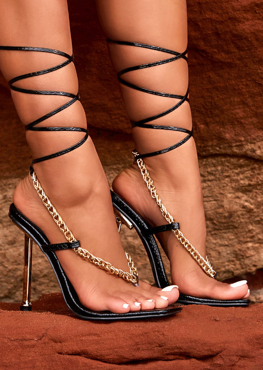 Emily Miller Too Hot Black Faux Snake Print Chain Lace Up Heels