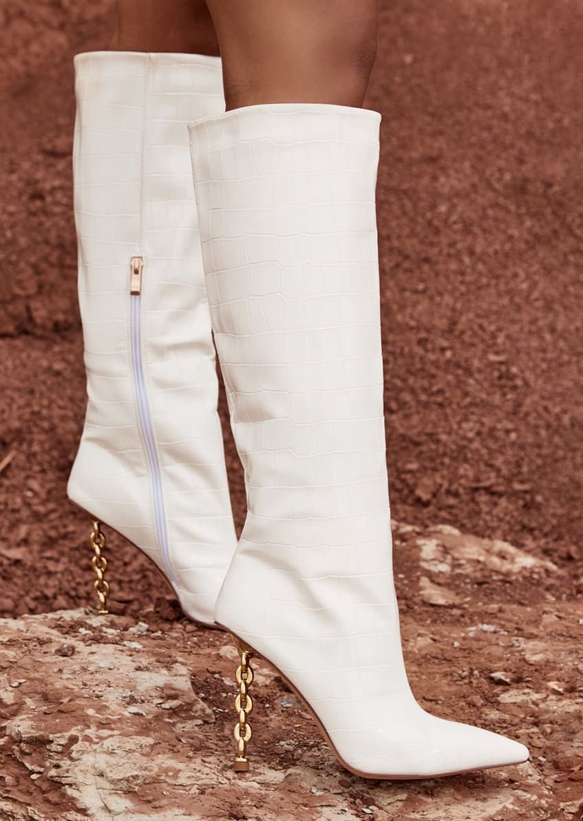 Emily Miller Sunset White Faux Croc Print Chain Knee High Boots
