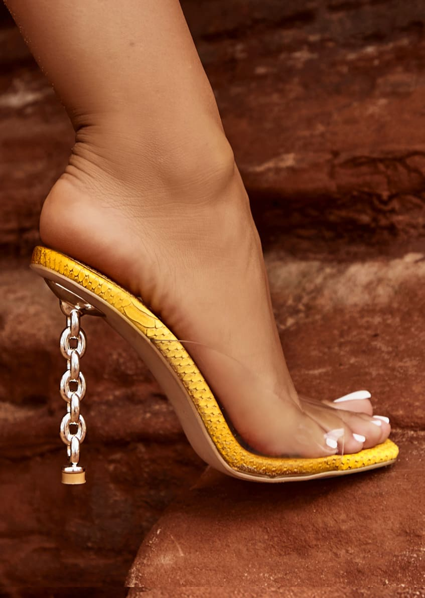 Emily Miller Lust Clear Orange Ombre Faux Snake Print Chain Mules