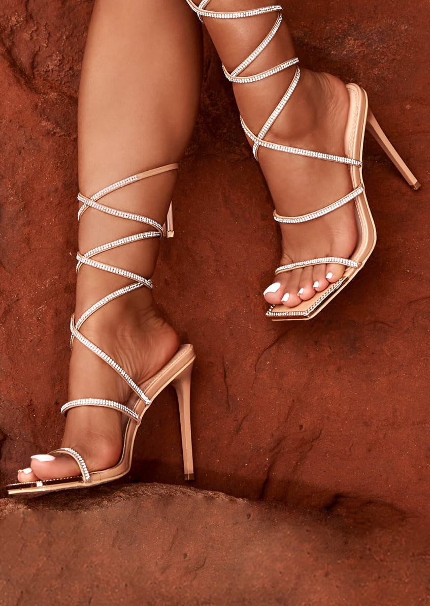 Emily Miller Ignite Nude Patent Diamante Lace Up Heels